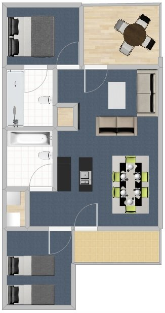 Two Bedroom Budget - Without Measurements
