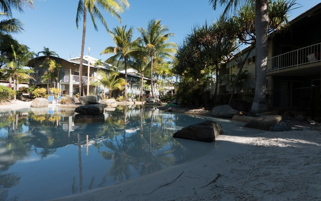 Unwind at Marlin Cove's sparkling lagoon pool and spa